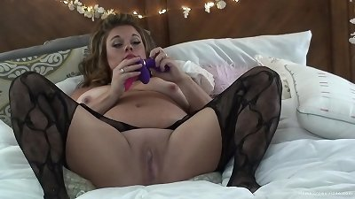 hot light-haired unexperienced bbw frolicking with her shaved cunt