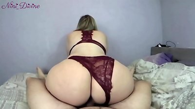He fucks the big ass of his neighbor slut in hot sexy lingerie!