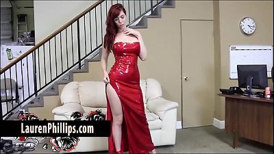 Big Tit redhead Lauren Phillips Plays with her Tight Wet Pussy